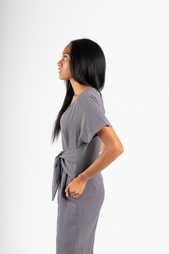 The Delray Tie Jumpsuit in Grey