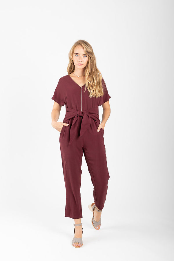The Delray Tie Jumpsuit in Plum