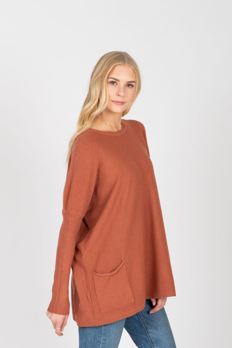 The Divina Casual Pocket Sweater in Dusty Rose
