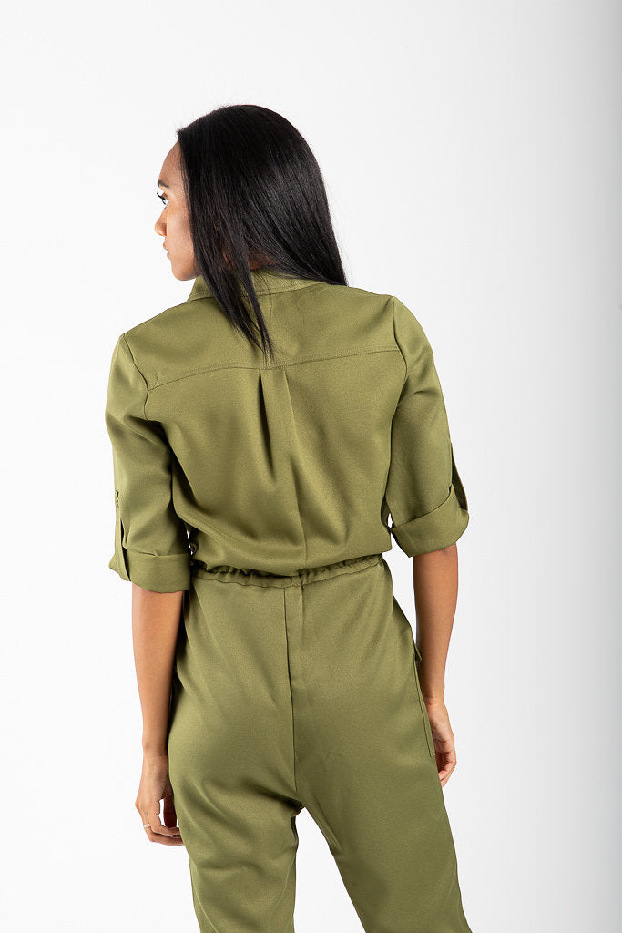 The Carpenter Button Up Jumpsuit in Olive
