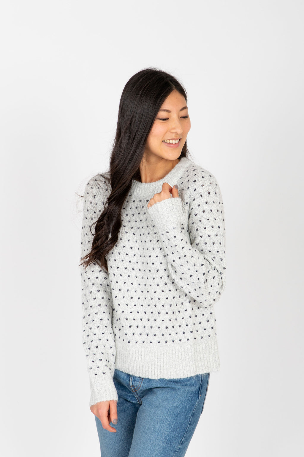 The Prime Heart Stitch Sweater in Ivory, studio shoot; front view