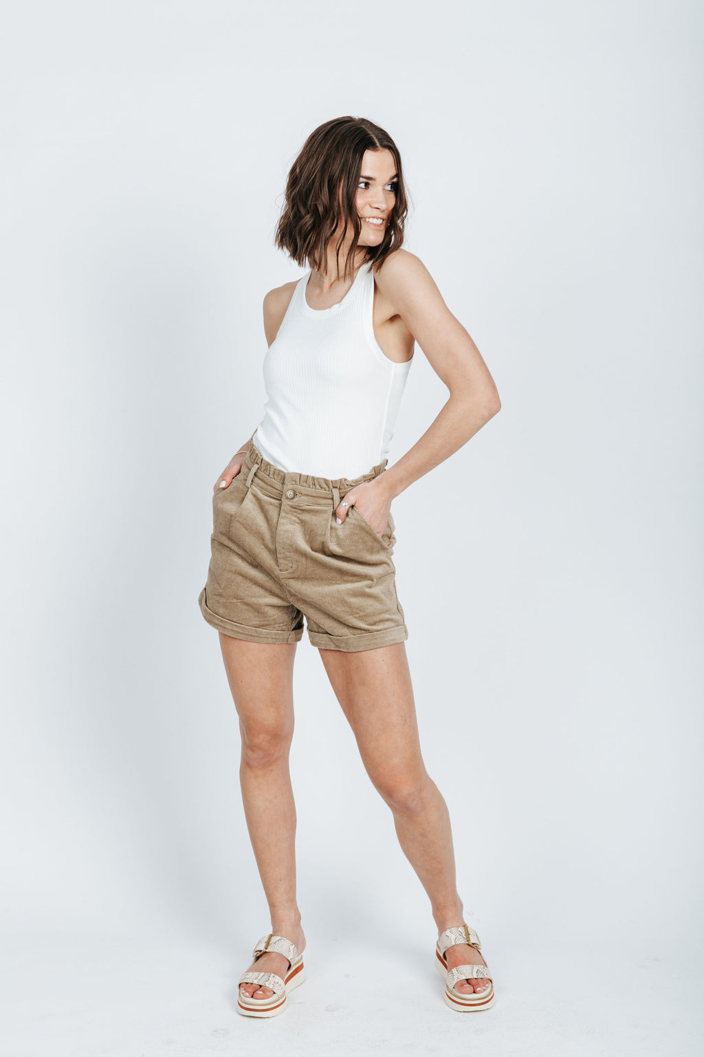 The Bench Corduroy Short in Mocha, studio shoot; front view