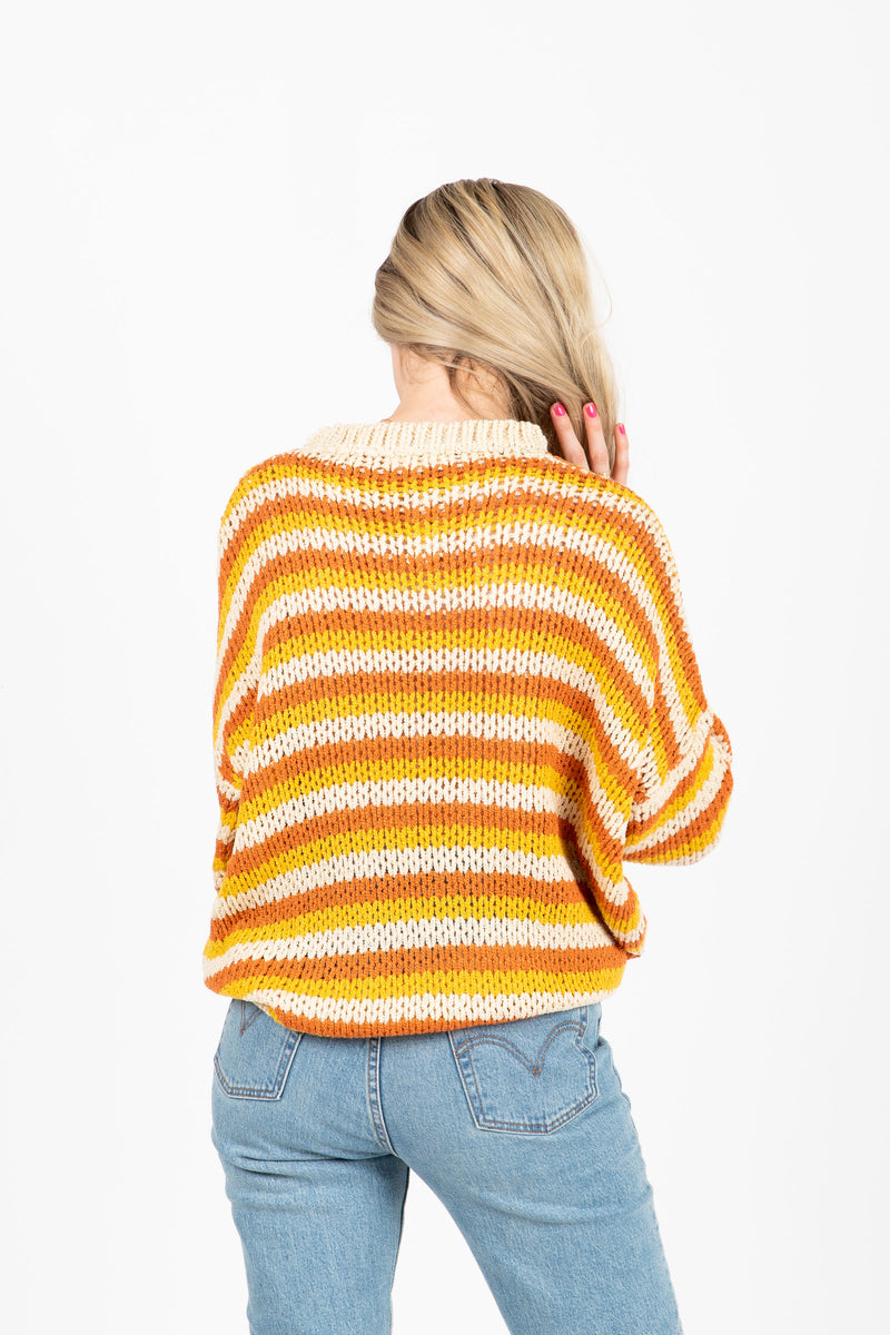 The Synapse Striped Sweater in Mustard- studio shoot; back view