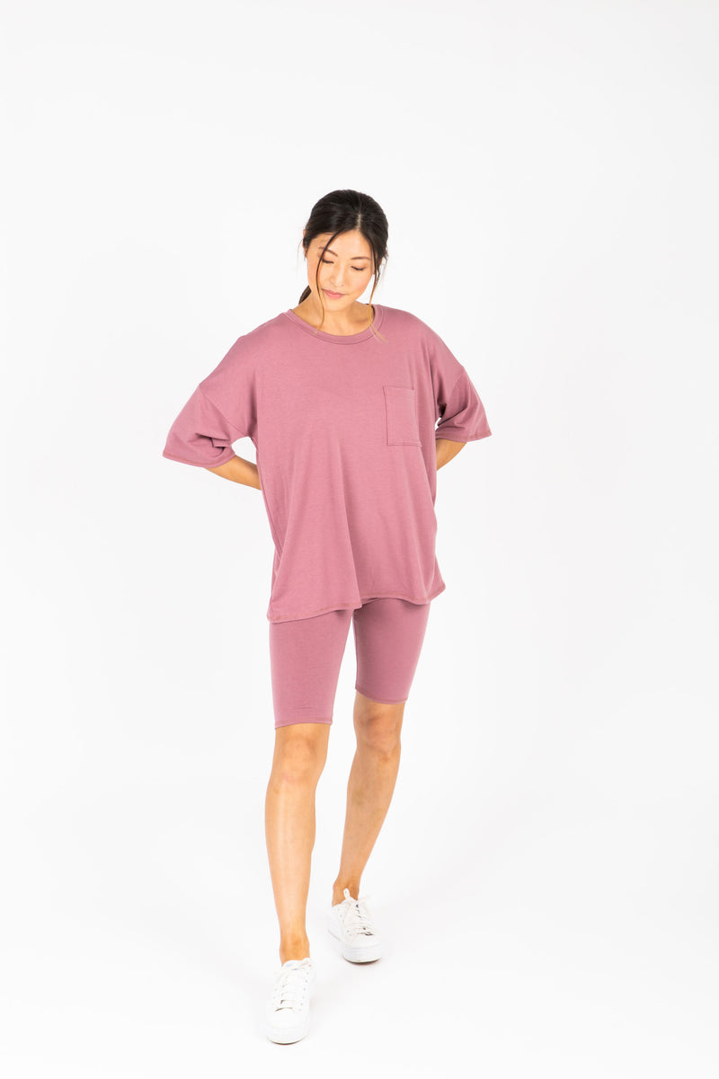 The Ashlee Boyfriend Casual Set in Mauve, studio shoot; front view