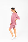 The Ashlee Boyfriend Casual Set in Mauve, studio shoot; side view