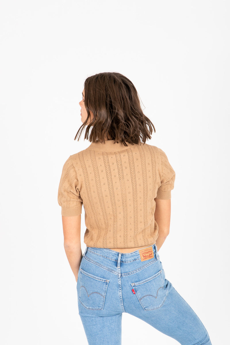 The Virtue Collared Knit in Tan, studio shoot; back view
