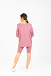 The Ashlee Boyfriend Casual Set in Mauve, studio shoot; back view