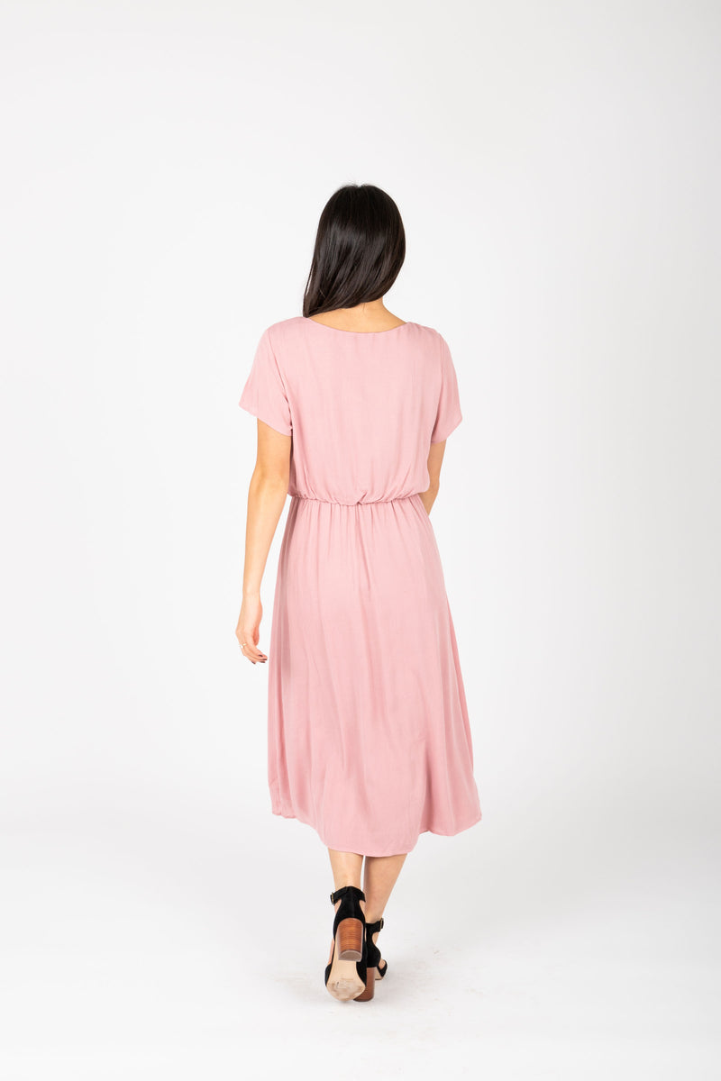 The Derby Dress in Blush, studio shoot; back view