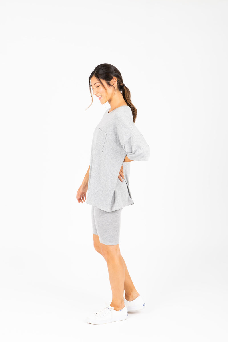 The Ashlee Boyfriend Casual Set in Heather Grey, studio shoot; side view
