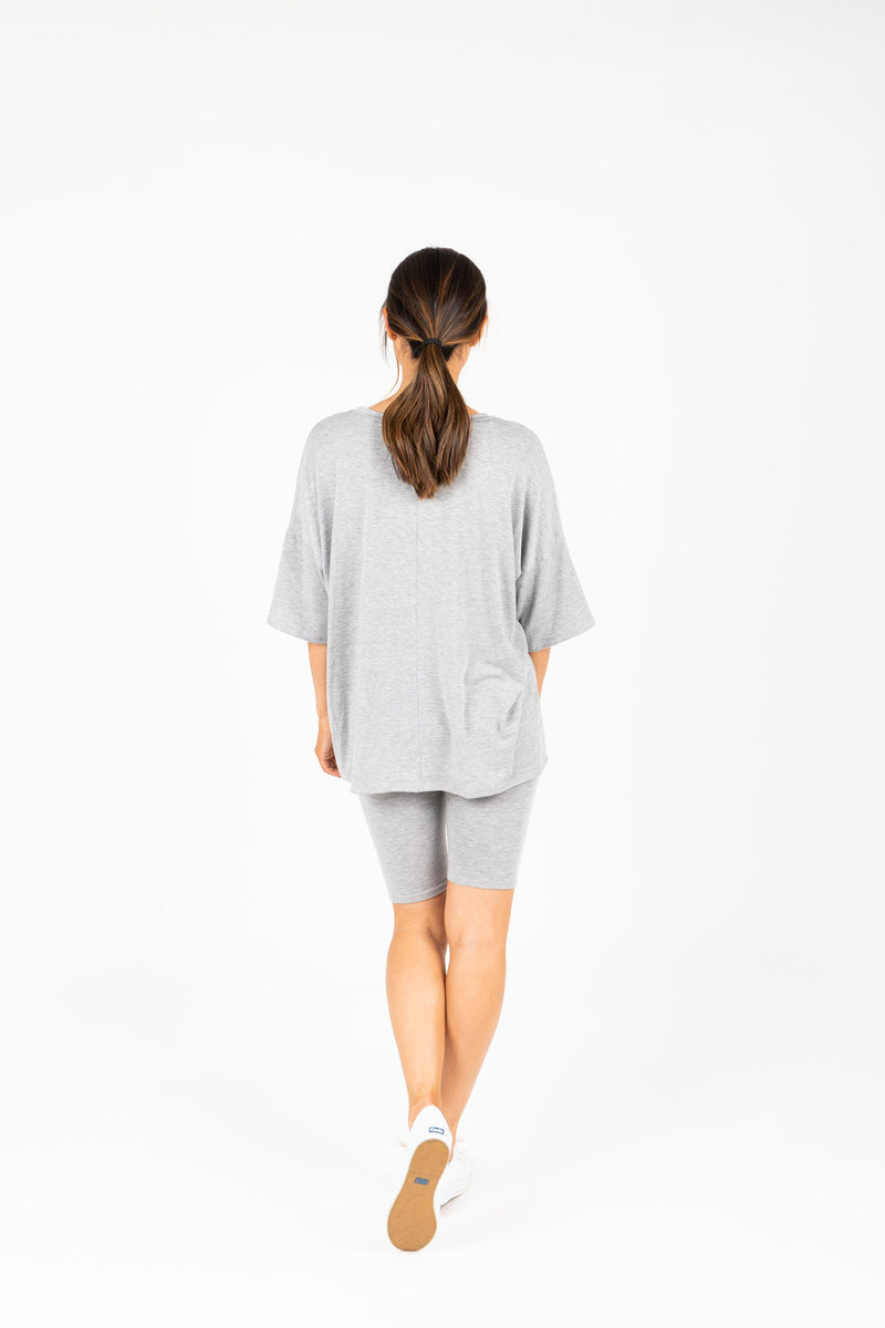 The Ashlee Boyfriend Casual Set in Heather Grey, studio shoot; back view