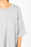 The Ashlee Boyfriend Casual Set in Heather Grey, studio shoot; front view