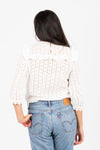 The Tip Top Eyelet Ruffle Blouse in White