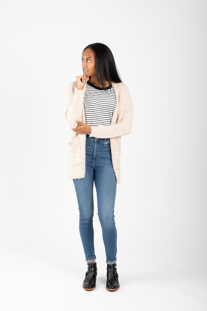 The Brandon Boucle Cardigan in Taupe