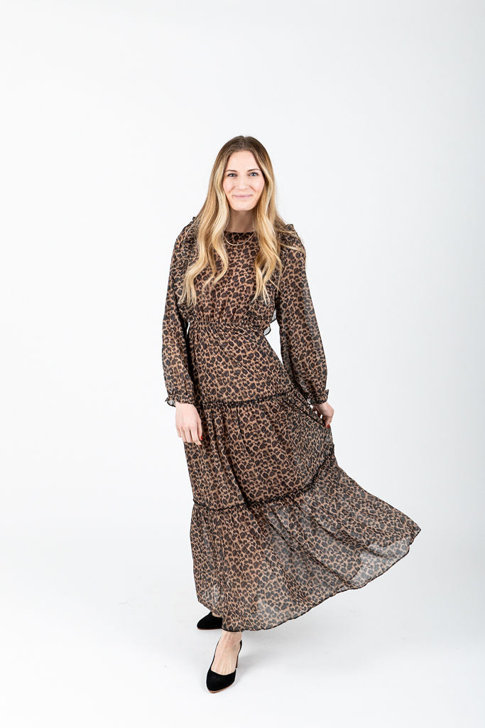 The Noakes Ruffle Midi Dress in Leopard, studio shoot; front view