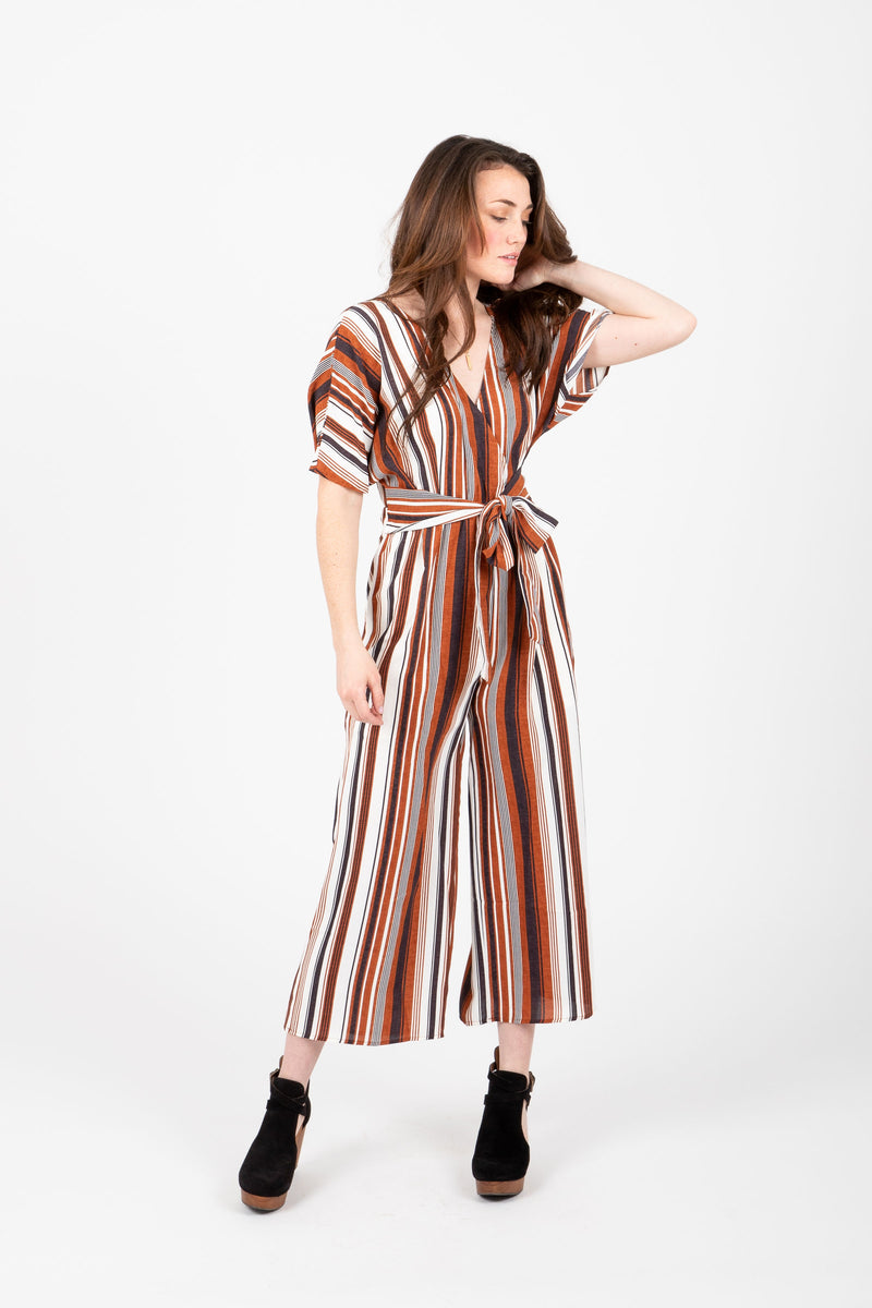 The Norfolk Striped Jumpsuit in Cinnamon