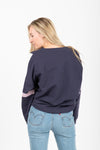 The Hubris Block Sweatshirt in Navy, studio shoot; back view
