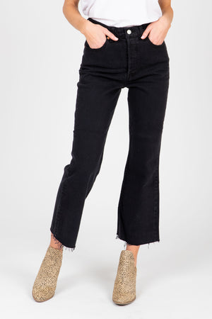 Levi's: Ribcage Cropped Flare Women's Jeans in Faded Black, studio shoot; front view