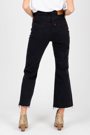 Levi's: Ribcage Cropped Flare Women's Jeans in Faded Black, studio shoot; back view