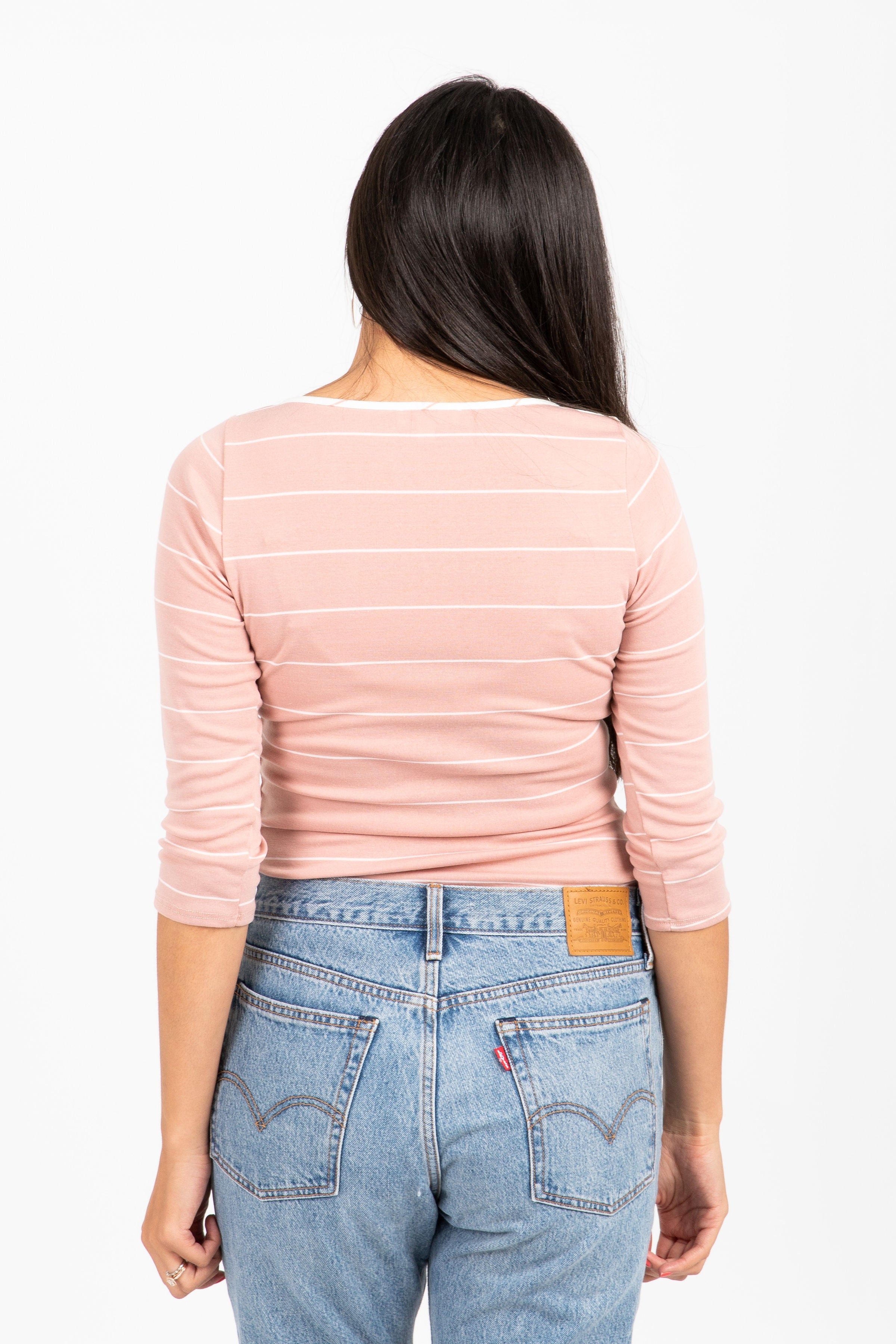 The Pinkie Striped Crew Blouse in Rose