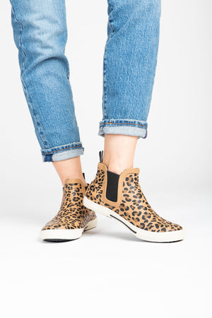 Joules: Rainwell Short Slip On Rain Boots in Leopard, studio shoot; side view