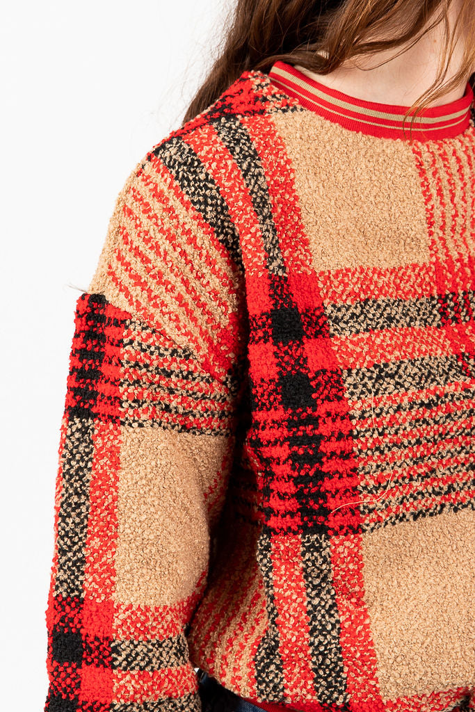 The Heritage Checked Sweater in Brick + Camel