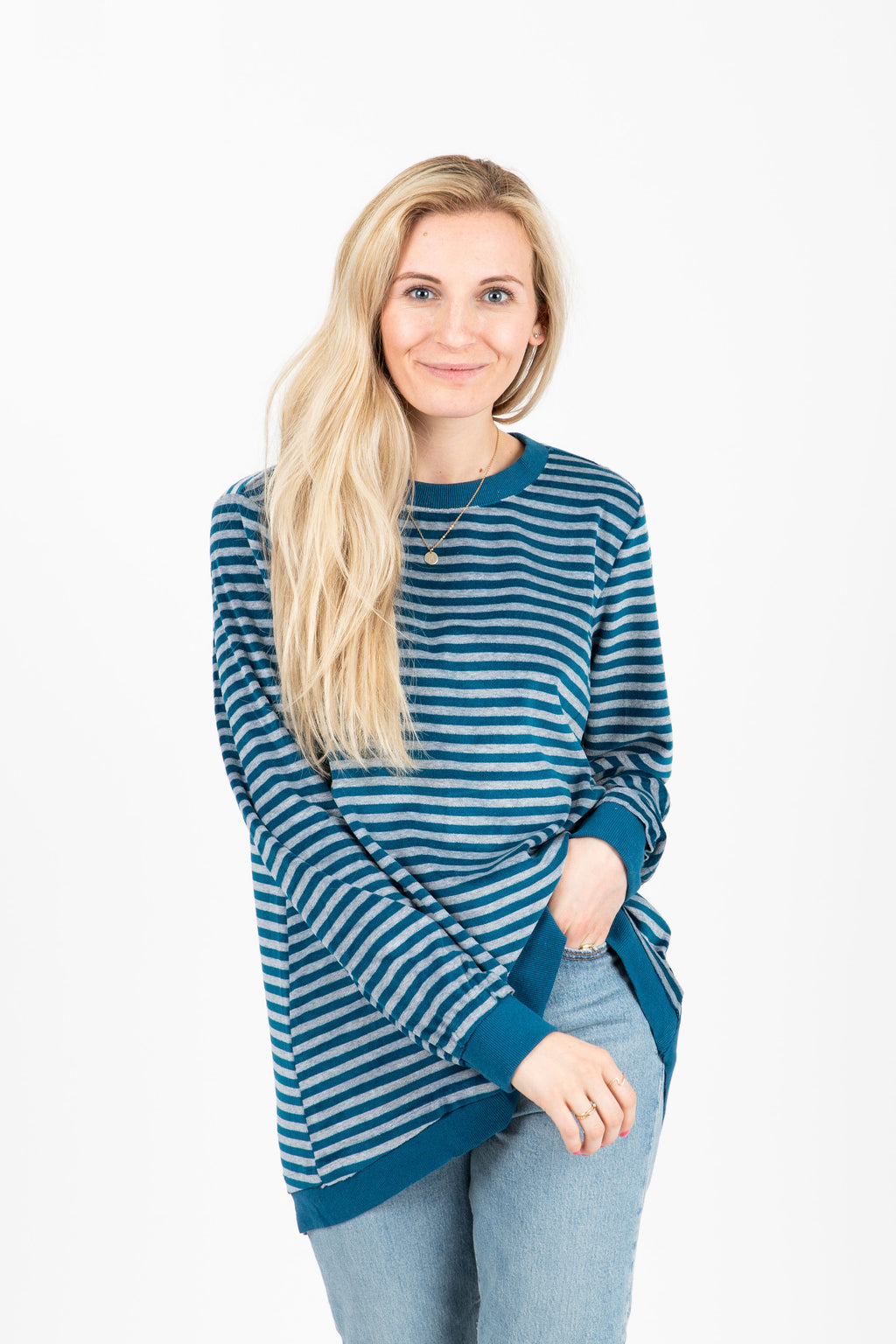 The Hollie Striped Casual Pullover in Blue