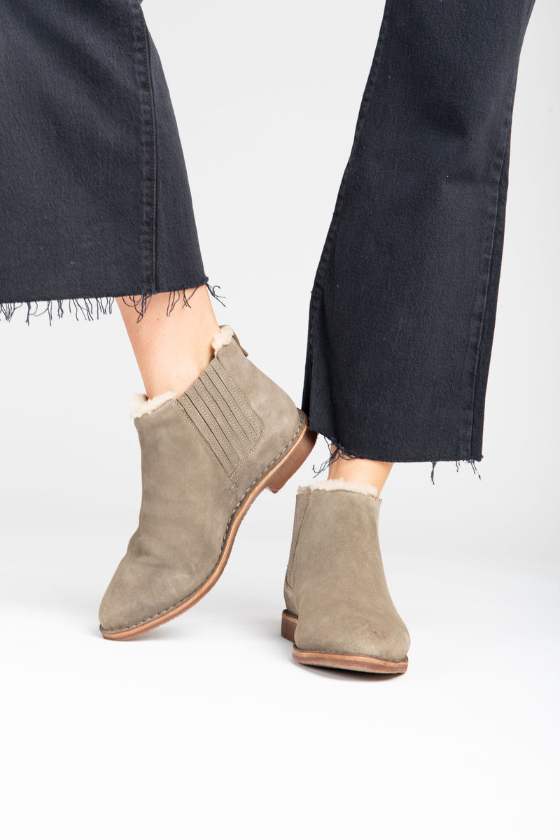 Seychelles: Pool Cozy Ankle Boot in Taupe