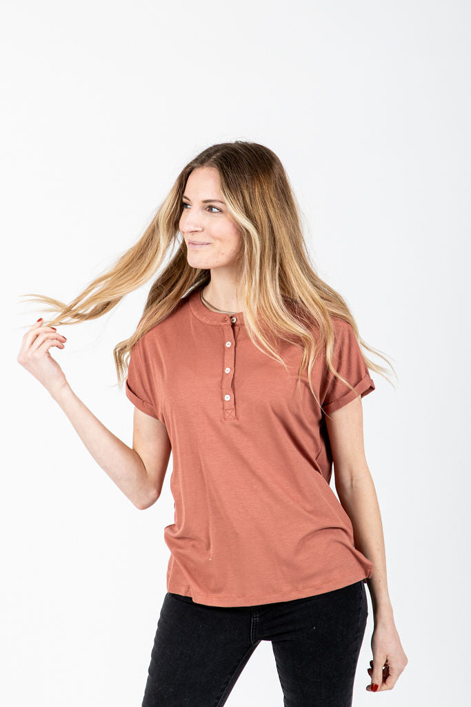 The Pevensie Casual Button Henley in Clay, studio shoot; front view