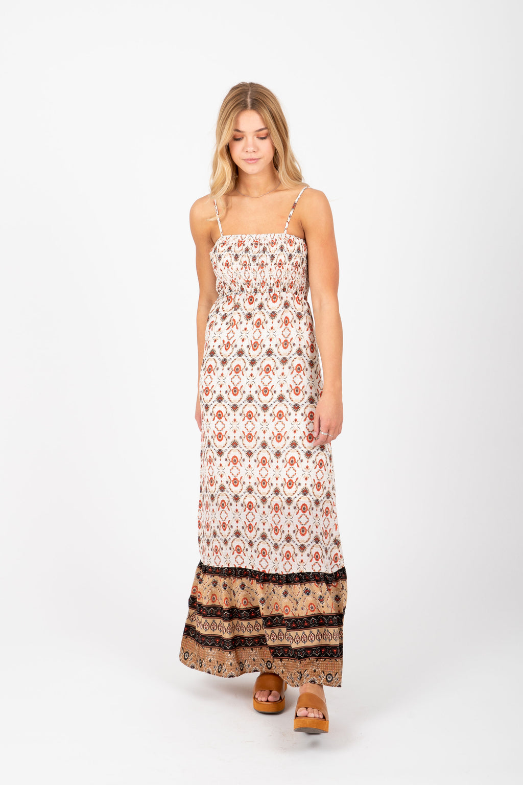 The Beatrice Patterned Tank Maxi Dress in Ivory