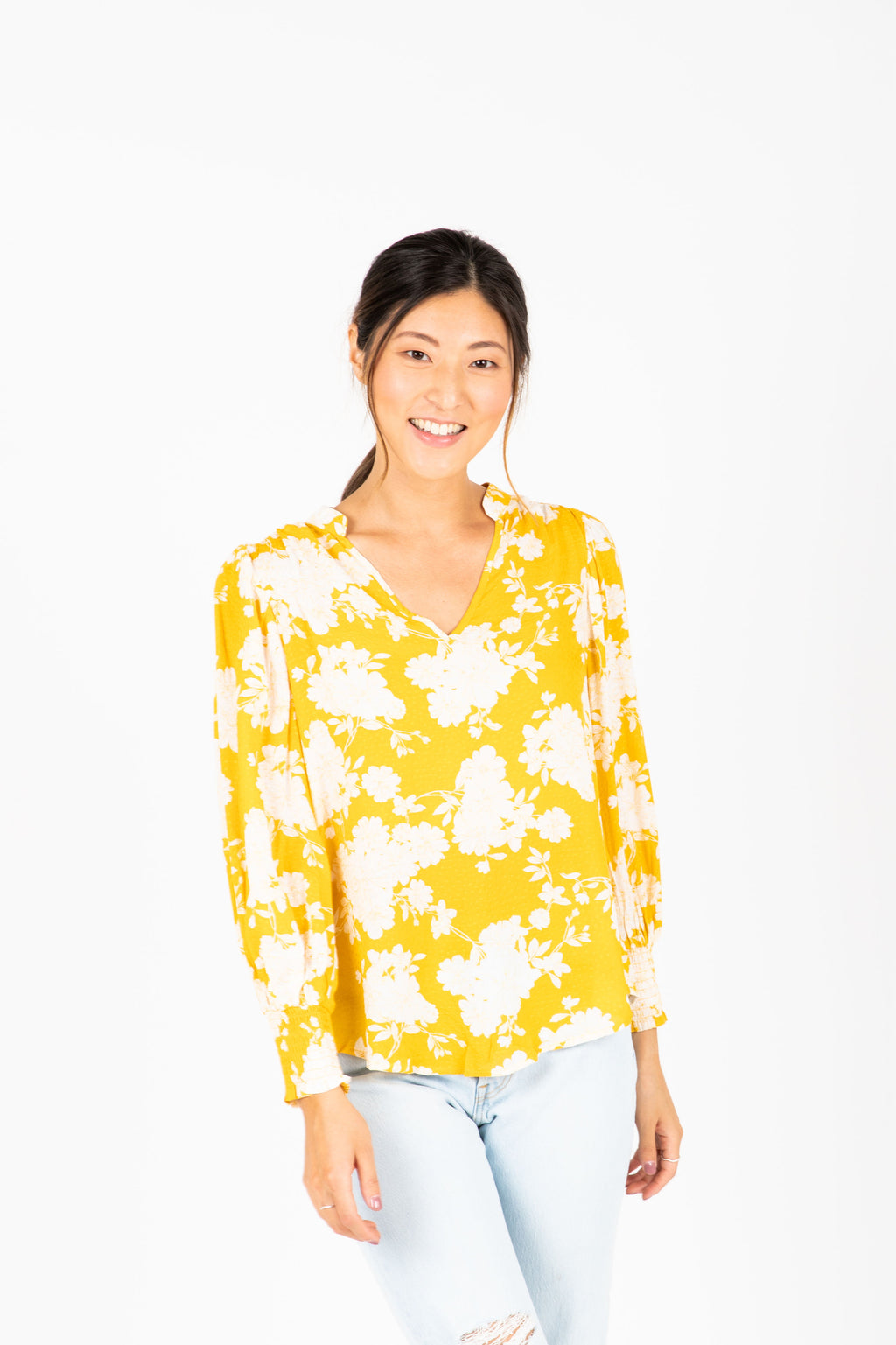 The Karson Floral Blouse in Dandelion, studio shoot; front view