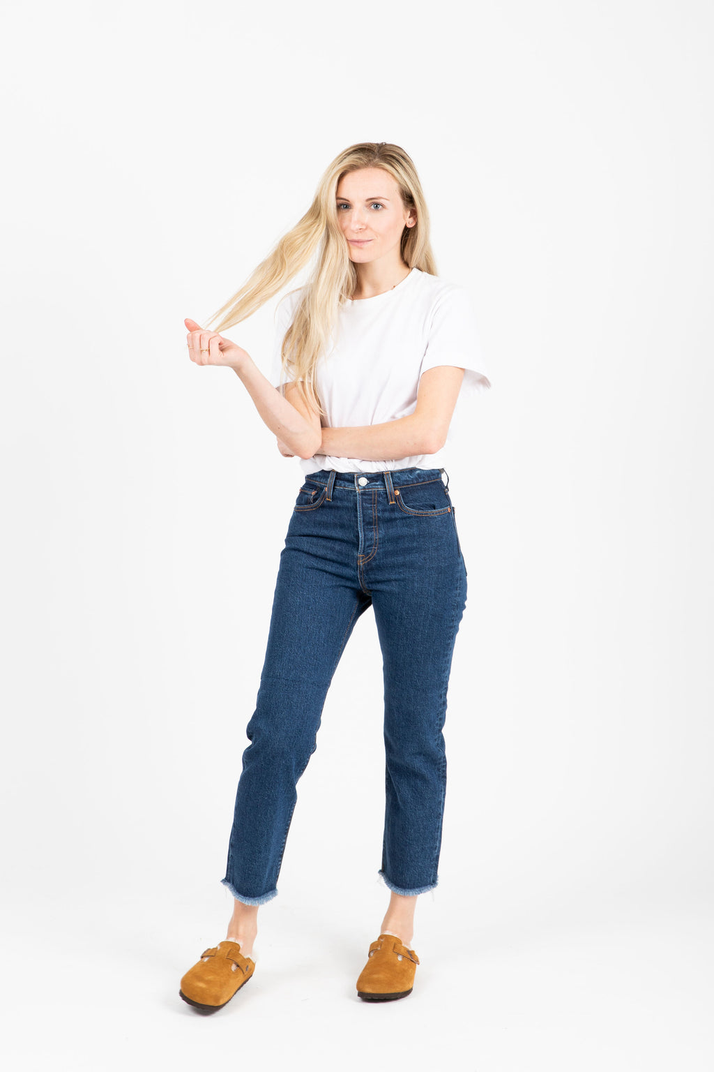 Levi's: Wedgie Straight Jeans in Below the Belt- studio shoot; front view
