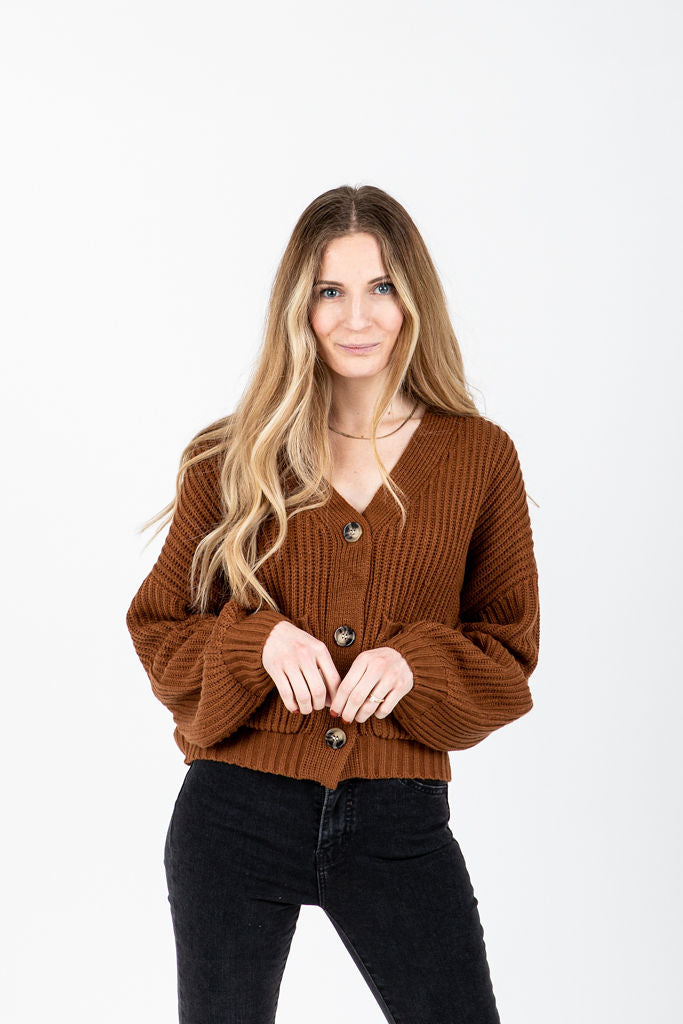 The Arabella Button Front Cardigan in Camel, studio shoot; front view