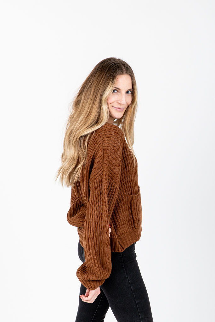 The Arabella Button Front Cardigan in Camel, studio shoot; side view