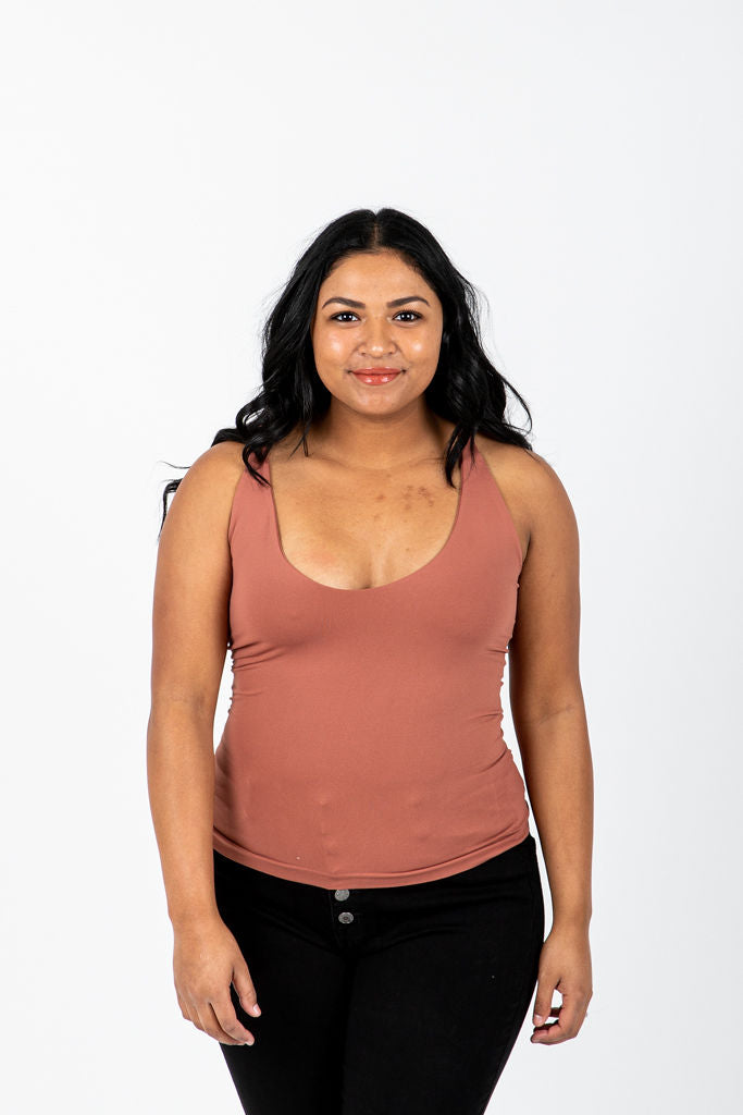 The Melora Tank in Sienna, studio shoot; front view
