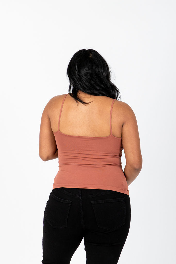The Melora Tank in Sienna, studio shoot; back view