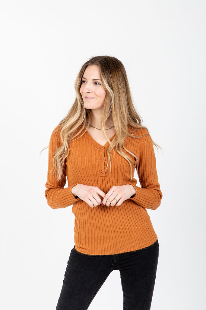 The Occhino Ribbed Button Knit in Camel, studio shoot; front view