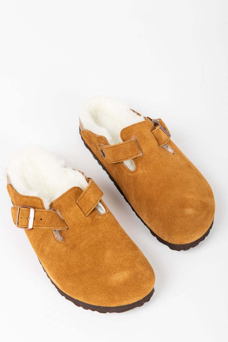 Birkenstock: Boston Shearling Suede Leather in Mink (Narrow Fit)
