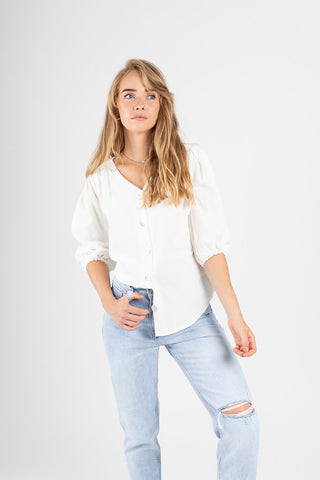 The Burt Denim Peplum Blouse