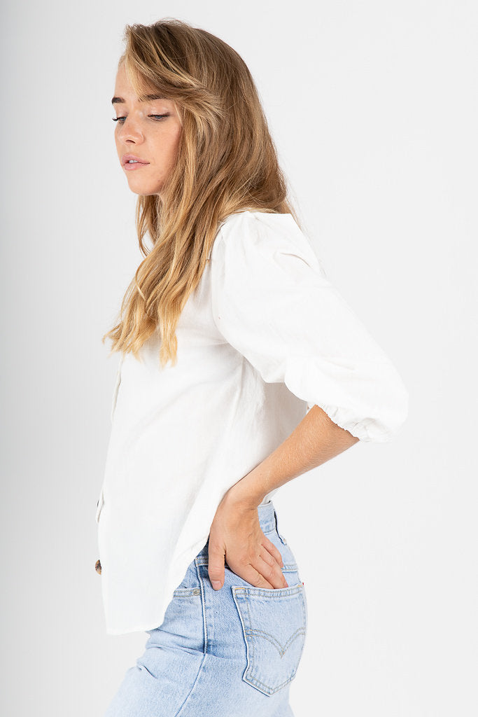 The Hammond Button Blouse in White