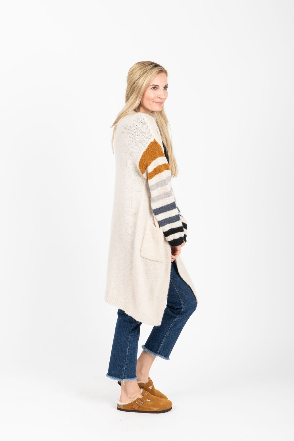 The Time Cozy Striped Cardigan in Ivory