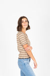 The Anna Striped Mock Neck Blouse in Olive, studio shoot; side view