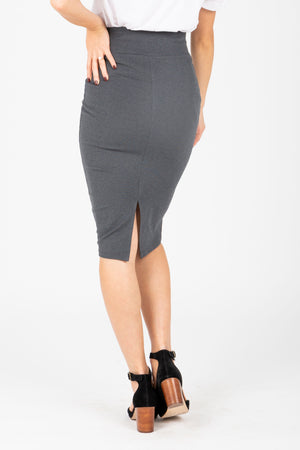 The Ponte Pencil Skirt in Charcoal, studio shoot; back view