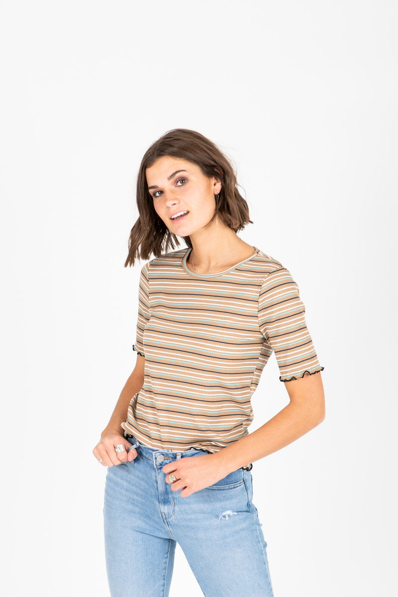 The Anna Striped Mock Neck Blouse in Olive, studio shoot; front view