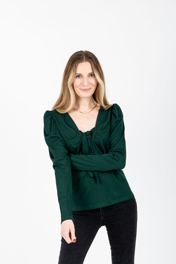 The Huntley Knotted Pairing Blouse in Hunter Green