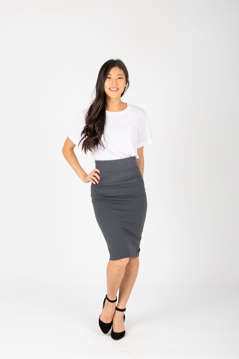 The Ponte Pencil Skirt in Charcoal, studio shoot; front view