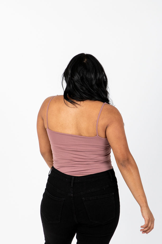 The Melora Tank in Lavender, studio shoot; back view