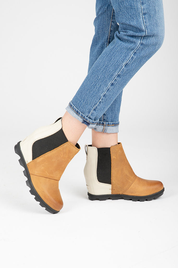 568ae5e058d SOREL  Joan of Arctic Wedge Chelsea Boot in Camel Brown + White – Piper    Scoot