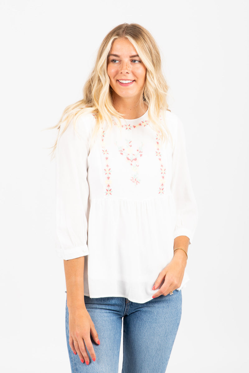 The Vignette Embroidered Peplum Blouse in White