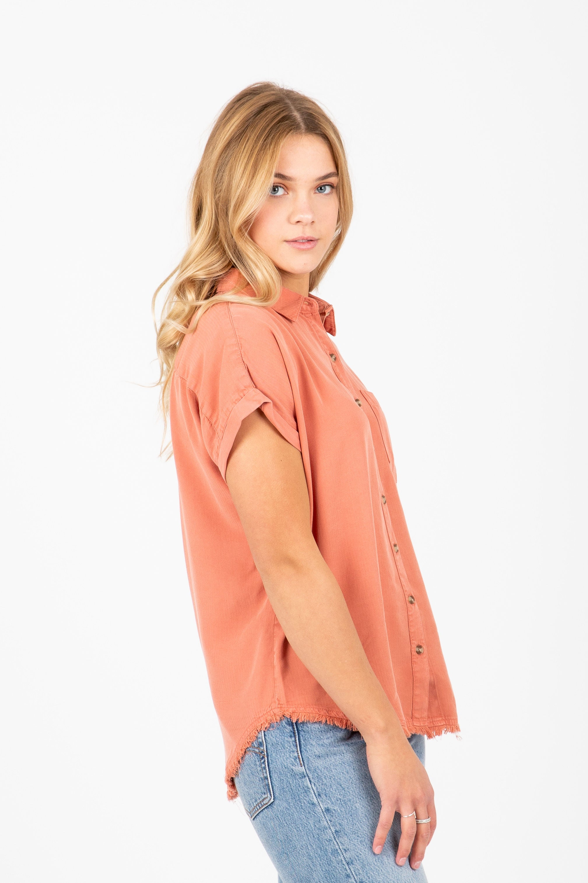 The Nora Button Up Shirt in Rosewood