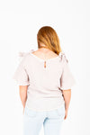 The Ernie Bow Detail Blouse in Taupe, studio shoot; back view